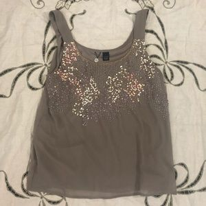 BKE Boutique taupe Sequin blouse with sequins